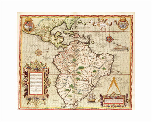 Map of Central and South America by Theodore de Bry