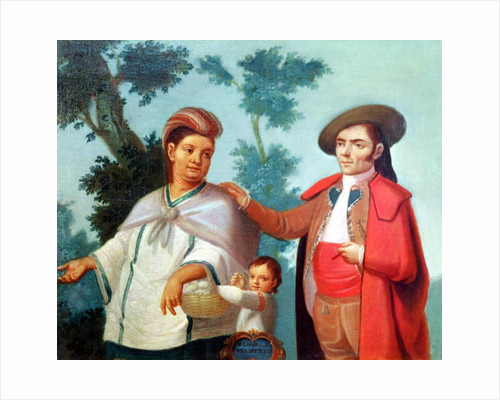 A Spaniard and his Mexican Indian Wife by Mexican School