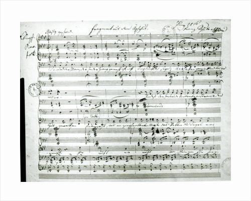 Autograph score of 'Fragment aus dem Aischylos' by Anonymous