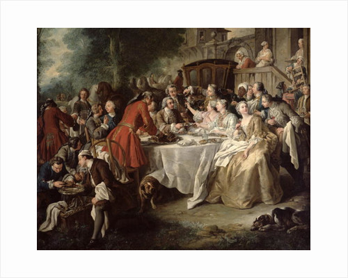 The Hunt Lunch, detail of the diners by Jean Francois de Troy