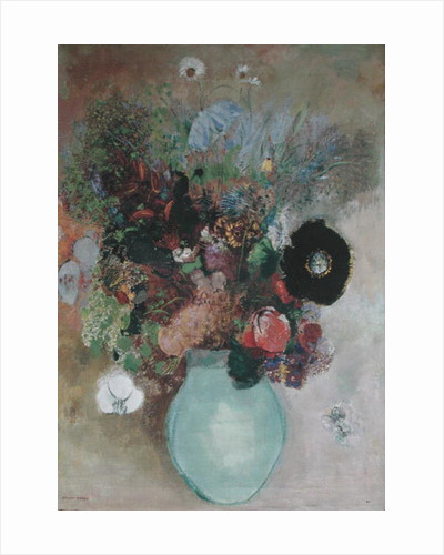 Flowers in a Green Vase by Odilon Redon