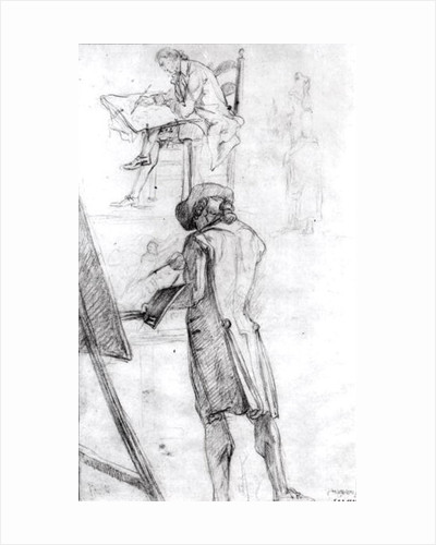 Artist at his Easel and the Artist Drawing by Gabriel de Saint-Aubin
