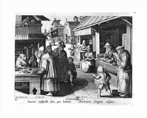 The Spectacles Seller, engraved by Jan Collaert and Joan Galle by Jan van der Straet