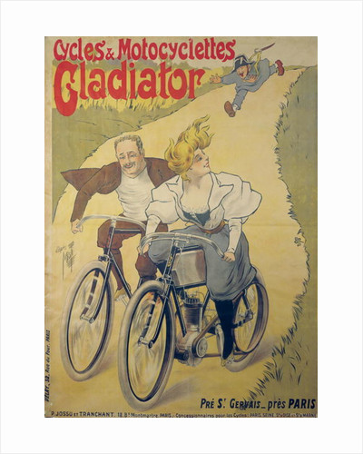 Poster advertising Gladiator bicycles and motorcycles by Ferdinand Misti-Mifliez