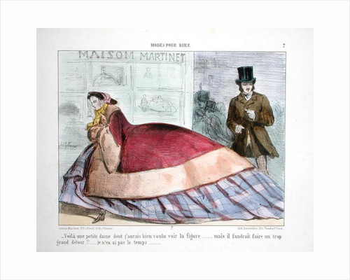 Caricature of the crinoline by French School