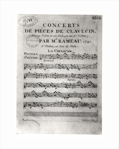 Score sheet for 'Concerts de Pieces de Clavecin' by Jean-Philippe Rameau by L. Hue