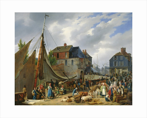 Loading Livestock onto the 'Passager' in the Port of Honfleur by Auguste-Xavier Leprince