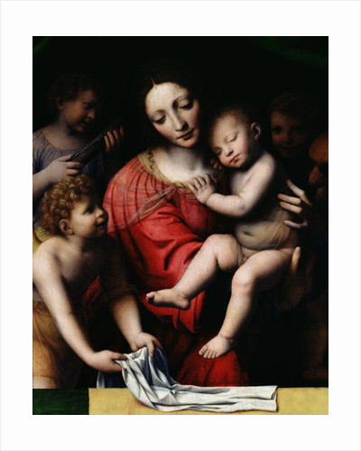 The sleeping Jesus, or Madonna holding the sleeping Child, accompanied by three angels by Bernardino Luini