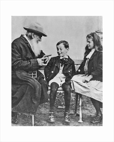 Portrait of Lev Nikolaevich Tolstoy with his Grandchildren by Russian Photographer