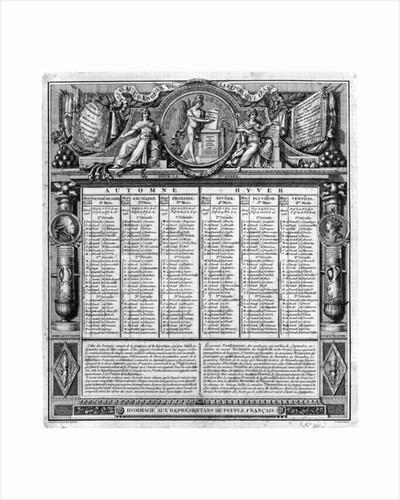 Republican calendar, 22nd September 1793 by Francois Maria Isidore Queverdo