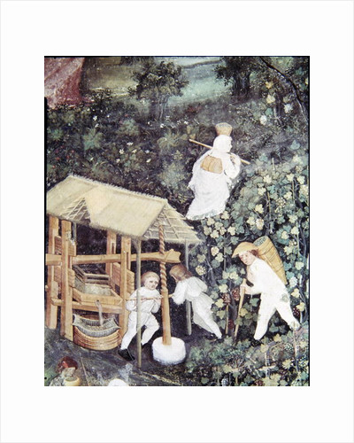 The Month of October, detail of grape-pickers pressing grapes by Italian School