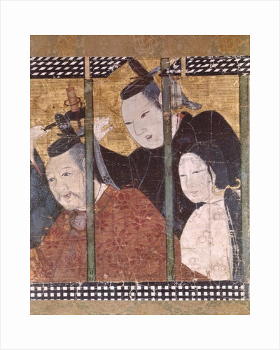 Two men and a woman behind an awning by Japanese School