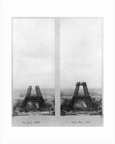 Two views of the construction of the Eiffel Tower by French Photographer