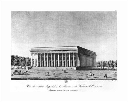 View of the Bourse Imperial Palace and the Commercial Court, Paris by Jacques Louis Constant Le Cerf