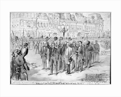 Members of the provisional government reviewing the National Guards outside the Hotel de Ville in Paris on the 31st October 1870 by French School