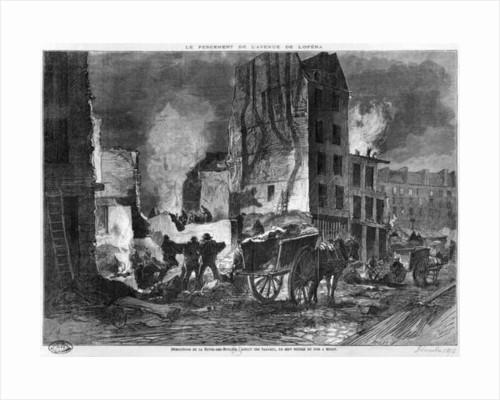 Building of Avenue de l'Opera, demolition of the Butte des Moulins by engraved by Charles Baude December 1876