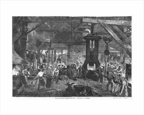Forge of the Derosne and Cail Company, Grenelle by engraved by Henry Duff Linton c.1880