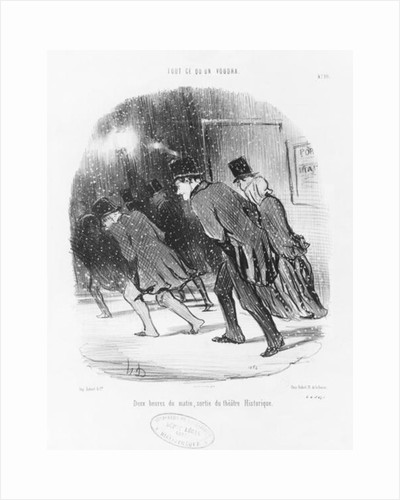 Series 'Tout ce qu'on voudra', Two in the morning, exit of the Historic Theatre by Honore Daumier