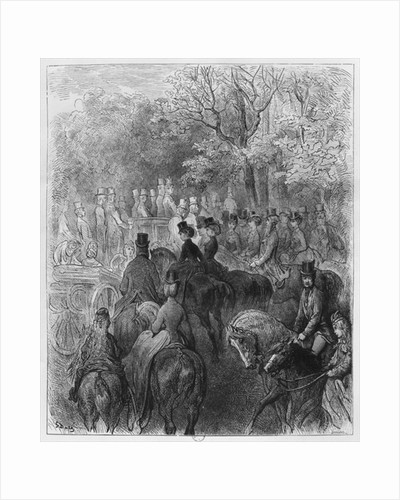 Carriages and riders at Hyde Park by Gustave Dore