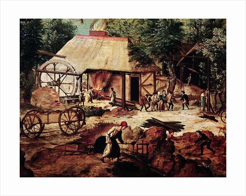 Landscape with Forge by Herri met de Bles