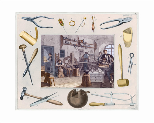 Workshop and main tools of jewellery, 1810 by French School