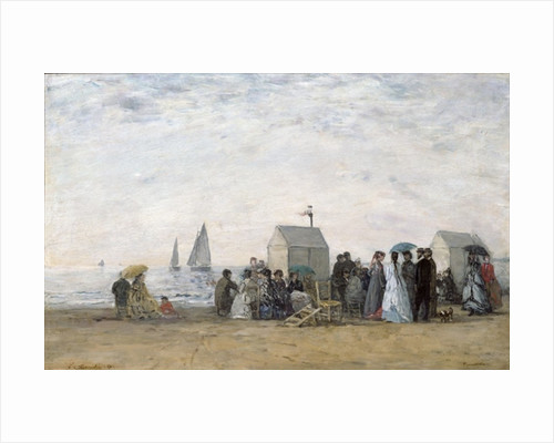 The Beach at Trouville by Eugene Louis Boudin