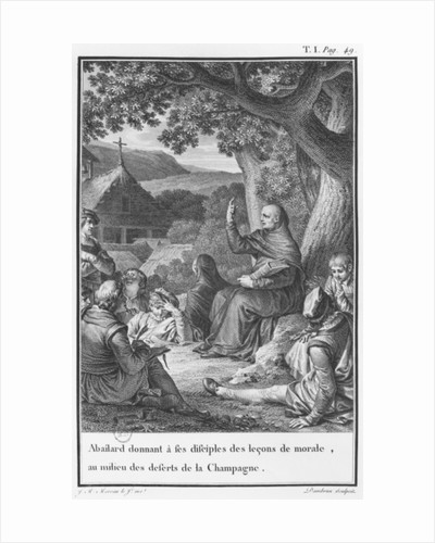 Abelard lecturing among disciples in the deserted Champagne by engraved by Jean Dambrun (1741-after 1808) 1795