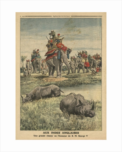 A rhinoceros hunt in honour of King George V by French School