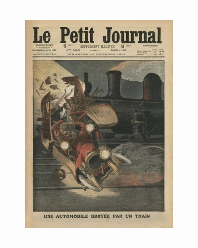A motor car crushed by a train by French School
