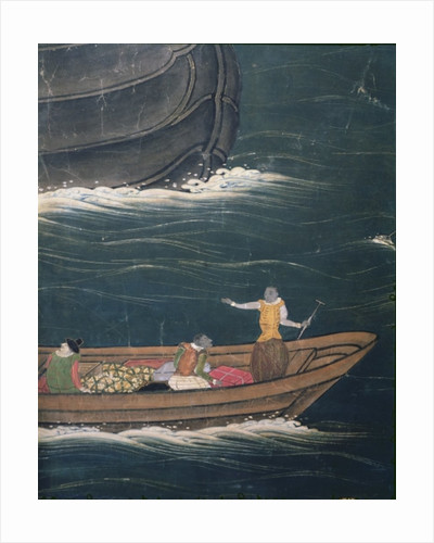 The Arrival of the Portuguese in Japan, detail of small ship with cargo by Japanese School