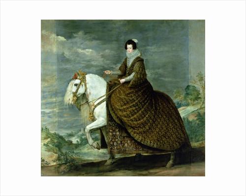 Equestrian portrait of Elisabeth de France, wife of Philip IV of Spain by Diego Rodriguez de Silva y Velazquez