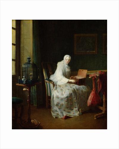 The Bird Organ or A Woman Varying Her Pleasures by Jean-Baptiste Simeon Chardin
