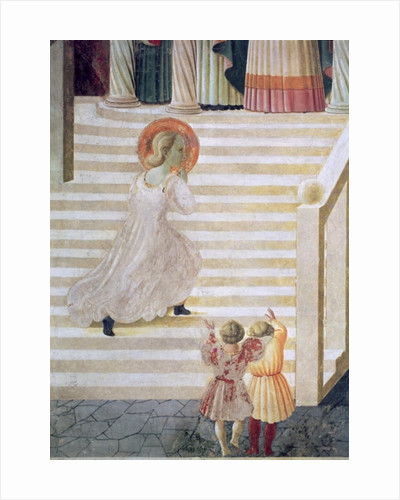 The Virgin Mary ascending the staircase at the Presentation of Mary in the Temple by Paolo Uccello