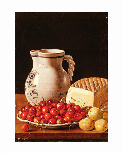 Still Life with cherries, cheese and greengages by Luis Egidio Melendez