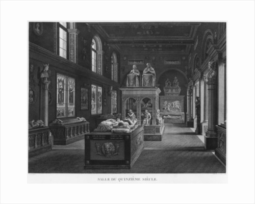 The 15th century room, Musee des Monuments Francais, Paris by engraved by Jean Baptiste Baptiste Reville and Lavalee