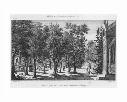 Musee des Monuments Francais, Paris, view of the Jardin Elysee from the tomb of Heloise and Abelard by Alexandre Marie Lenoir