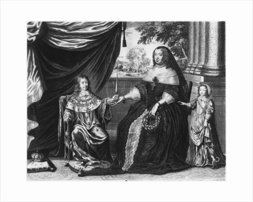 Anne of Austria, Queen of France and Navarre, and her sons, Dauphin Louis of France, future Louis XIV, and Philippe I, Duke of Orleans by French School