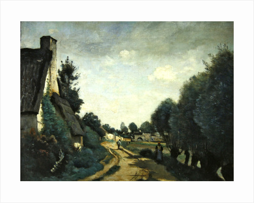 A Road Near Arras, or Cottages by Jean Baptiste Camille Corot