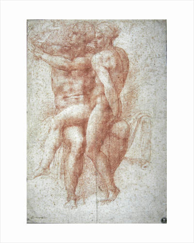 Nude female seated on the knees of a seated male nude: Adam and Eve by Michelangelo Buonarroti
