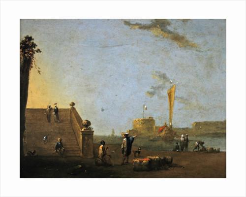 Harbour scene at a Spanish Port by Norbert Joseph Carl Grund