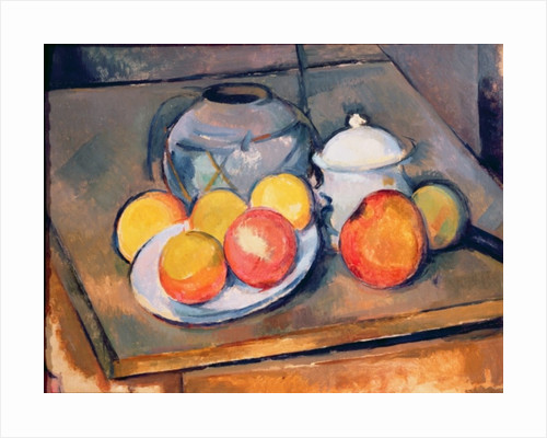 Straw-covered vase, sugar bowl and apples by Paul Cezanne