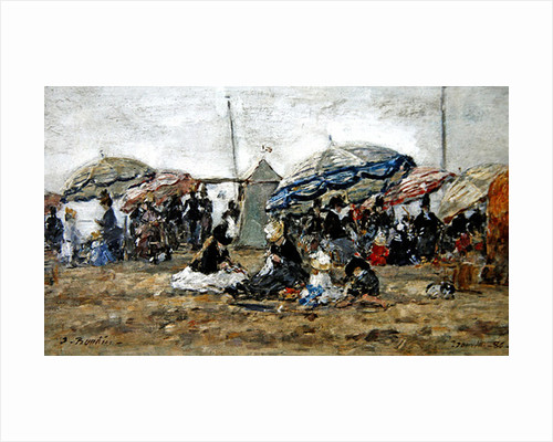 Parasols on the Beach at Trouville by Eugene Louis Boudin