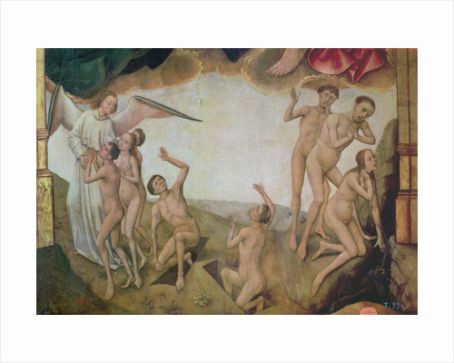 An angel welcomes the blessed into heaven while on the right the damned are being dragged down by devils to hell by Vrancke van der Stockt