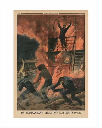 A Captain burnt alive on board his ship by French School