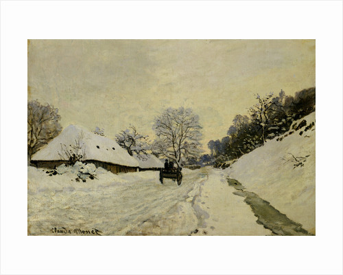 The Cart, or Road under Snow at Honfleur by Claude Monet