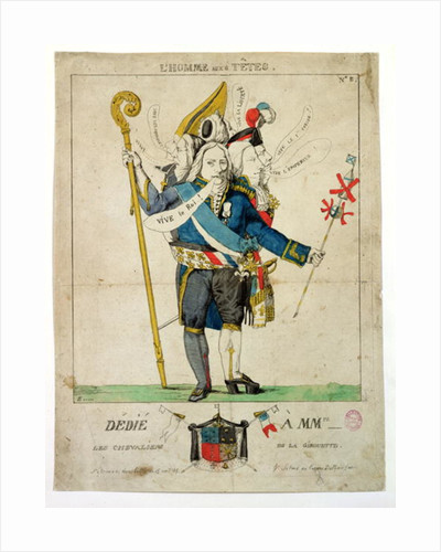 'The Man with Six Heads', caricature of Charles Maurice de Talleyrand-Perigord by French School