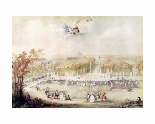 View of the Gardens and the Chateau of Versailles from the Neptune Fountain by Jacqes Andre Portail