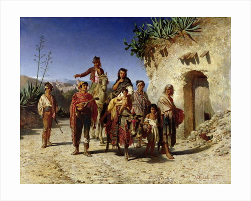 A Gypsy Family on the Road by Achille Zo