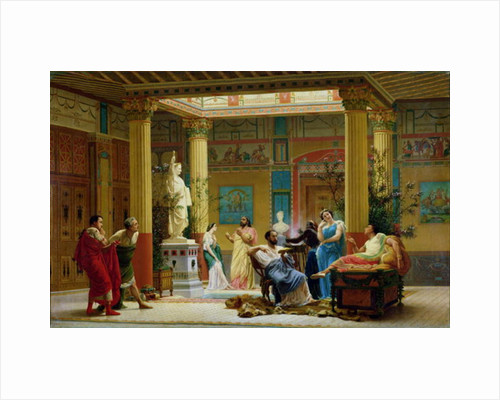 Rehearsal of 'The Fluteplayer' and 'The Diomedes' wife' in the atrium of the Pompeian house of Prince Napoleon by Gustave Clarence Rodolphe Boulanger