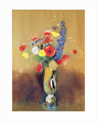 Wild flowers in a Long-necked Vase by Odilon Redon
